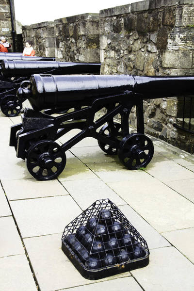 Castles Of Scotland Digital Art - Oil Painting - Tourists And Cannons With Ammunition At The Wall Of Stirling Castle by Ashish Agarwal