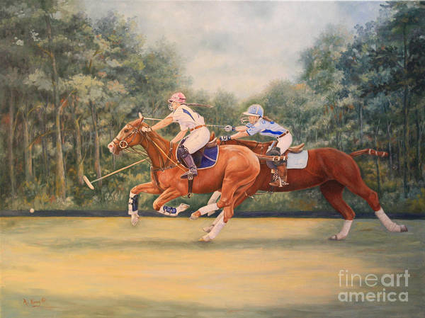 Wall Art - Painting - Oil Painting - A Polo Match by Roena King