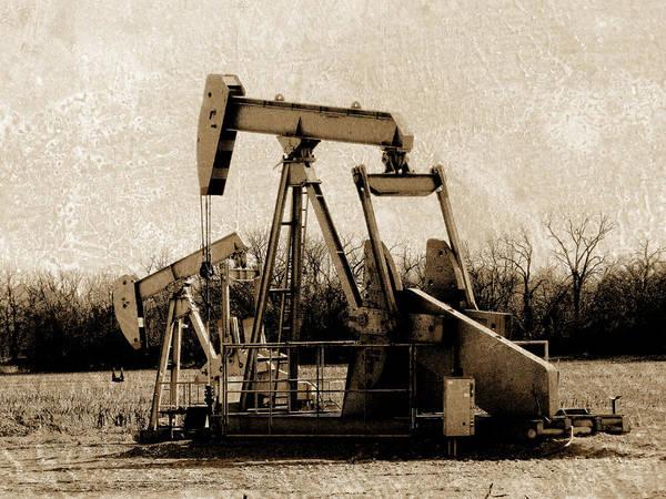 Digital Image Digital Art - Oil Pump Jack In Sepia by Ann Powell