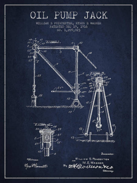 Drilling Wall Art - Digital Art - Oil Pump Jack Patent Drawing From 1916 - Navy Blue by Aged Pixel