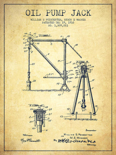 Drilling Wall Art - Digital Art - Oil Pump Jack Patent Drawing From 1916 - Vintage by Aged Pixel