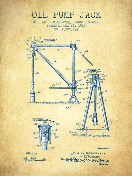 Drilling Rig Wall Art - Drawing - Oil Pump Jack Patent Drawing From 1916 - Vintage Paper by Aged Pixel
