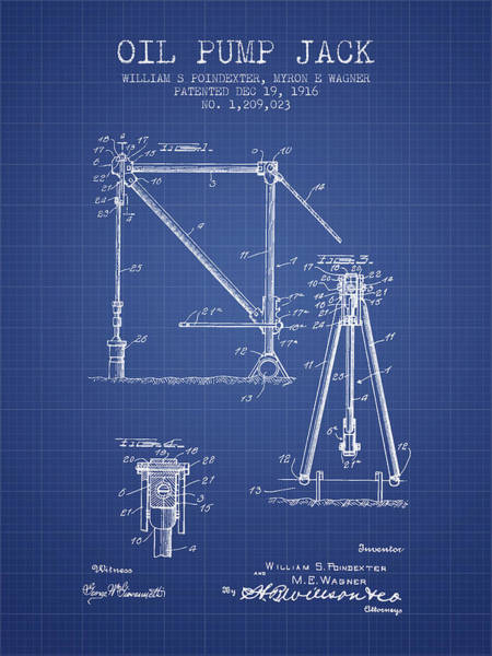 Drilling Rig Wall Art - Digital Art - Oil Pump Jack Patent From 1916 - Blueprint by Aged Pixel