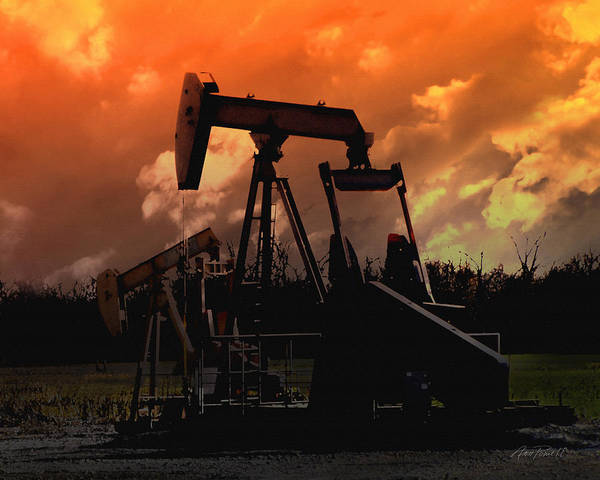 Wall Art - Photograph - Oil Pump Jack With Colorful Sky by Ann Powell