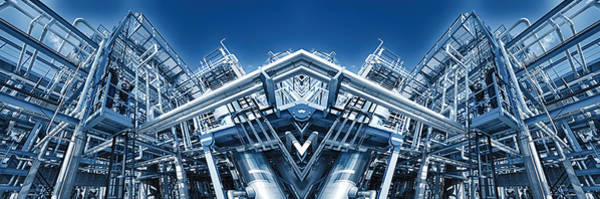 Wall Art - Photograph - Oil Refinery Panoramic Mirror Image by Christian Lagereek