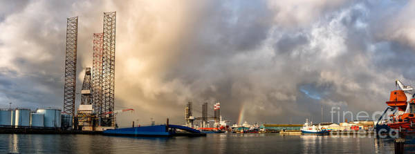 Wall Art - Photograph - Oil Rig In Esbjerg Harbor Denmark by Frank Bach
