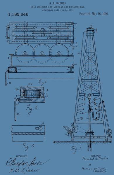 Oil Well Mixed Media - Oil Rig Patent On Blue by Dan Sproul