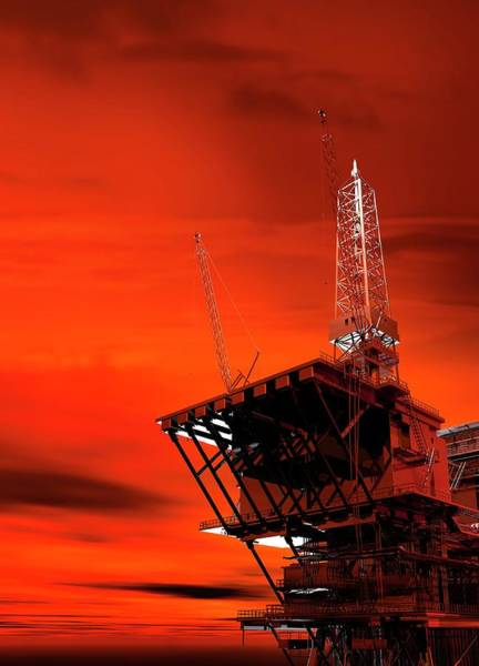 Environmental Issue Wall Art - Photograph - Oil Rig by Victor Habbick Visions