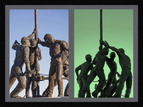 Cut-out Mixed Media - Oil Rig Workers Diptych by Steve Ohlsen