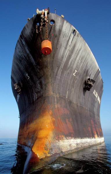 Oilfield Wall Art - Photograph - Oil Storage Tanker Hull by Chris Sattlberger/science Photo Library