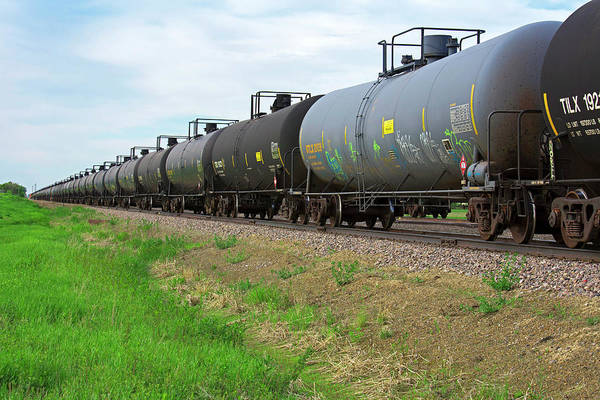 Flammable Photograph - Oil Tanker Train by Jim West