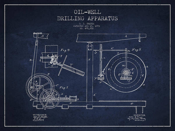 Drilling Wall Art - Digital Art - Oil Well Apparatus Patent From 1893 - Navy Blue by Aged Pixel
