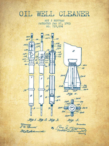 Drilling Wall Art - Drawing - Oil Well Cleaner Patent From 1903 - Vintage Paper by Aged Pixel