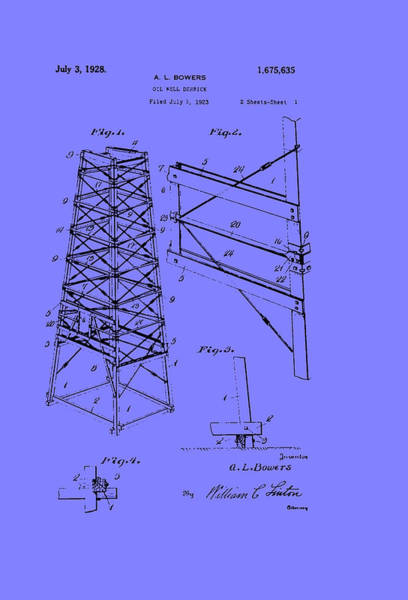 Oil Derrick Drawing - Oil Well Derrick Patent by Mountain Dreams