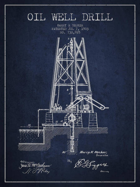 Drilling Wall Art - Digital Art - Oil Well Drill Patent From 1903 - Navy Blue by Aged Pixel