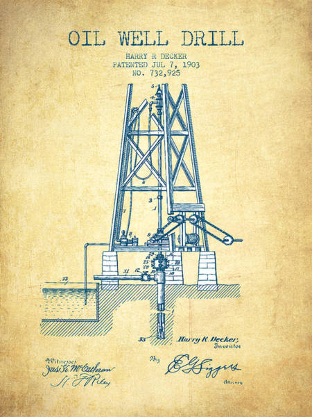 Drilling Wall Art - Drawing - Oil Well Drill Patent From 1903 - Vintage Paper by Aged Pixel