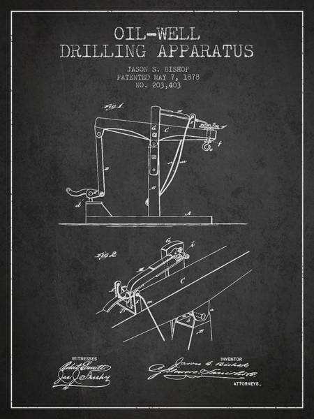 Drilling Wall Art - Digital Art - Oil Well Drilling Apparatus Patent From 1878 - Dark by Aged Pixel