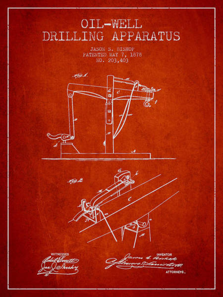 Drilling Rig Wall Art - Digital Art - Oil Well Drilling Apparatus Patent From 1878 - Red by Aged Pixel