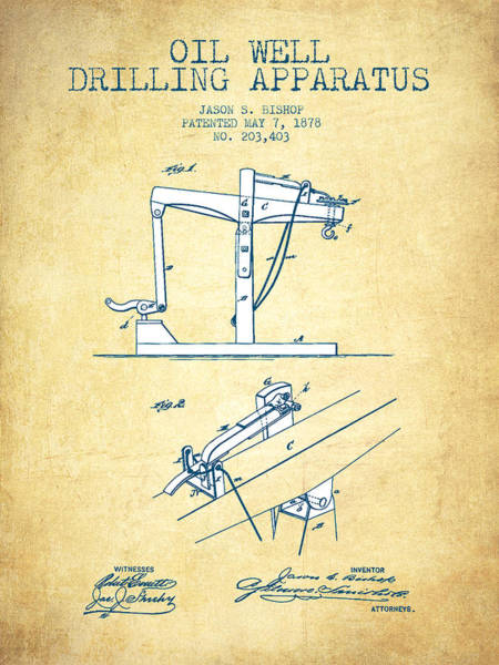 Drilling Rig Wall Art - Drawing - Oil Well Drilling Apparatus Patent From 1878 - Vintage Paper by Aged Pixel