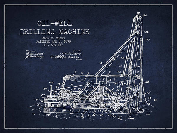 Drilling Rig Wall Art - Drawing - Oil Well Drilling Machine Patent From 1898 - Navy Blue by Aged Pixel