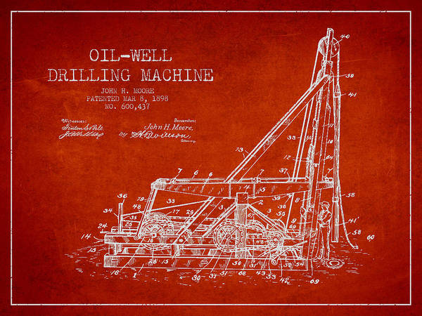 Drilling Wall Art - Drawing - Oil Well Drilling Machine Patent From 1898 - Red by Aged Pixel