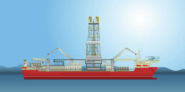 Oil Pump Photograph - Oil Well Drilling Ship by Fanatic Studio / Science Photo Library