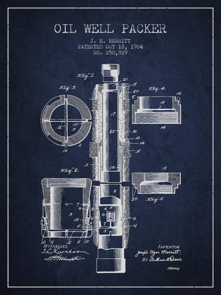 Oil Drawing - Oil Well Packer Patent From 1904 - Navy Blue by Aged Pixel
