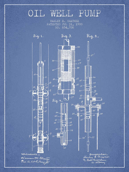 Drilling Wall Art - Digital Art - Oil Well Pump Patent From 1900 - Light Blue by Aged Pixel