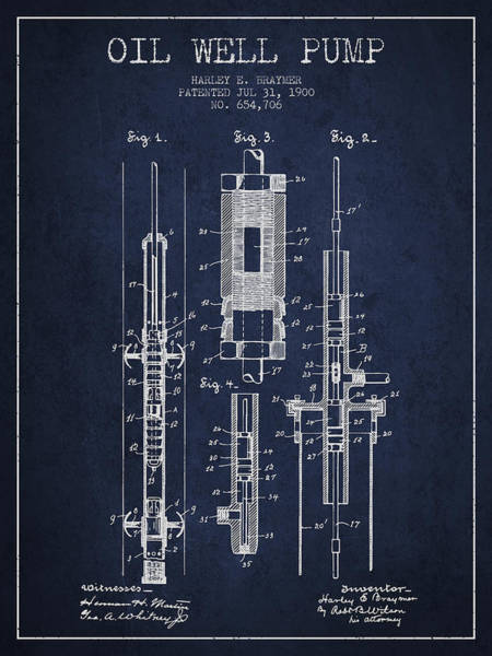 Drilling Wall Art - Digital Art - Oil Well Pump Patent From 1900 - Navy Blue by Aged Pixel
