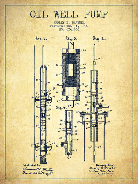 Drilling Wall Art - Digital Art - Oil Well Pump Patent From 1900 - Vintage by Aged Pixel