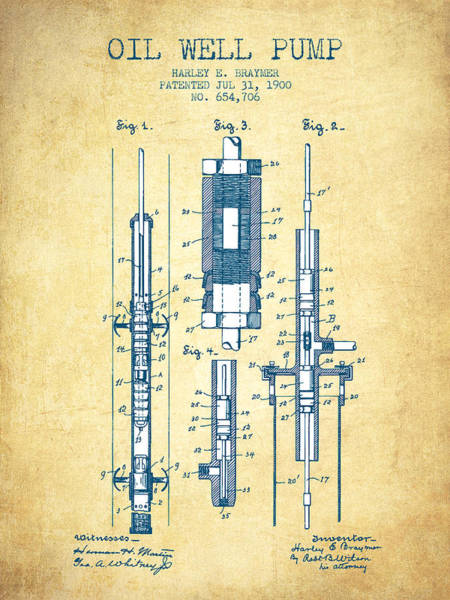 Drilling Wall Art - Drawing - Oil Well Pump Patent From 1900 - Vintage Paper by Aged Pixel