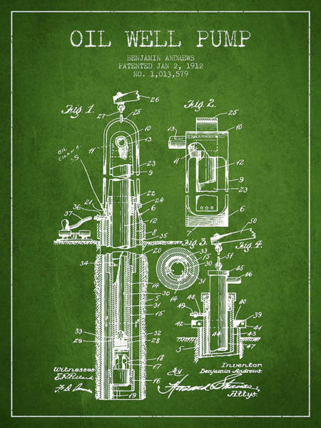 Drilling Wall Art - Digital Art - Oil Well Pump Patent From 1912 - Green by Aged Pixel