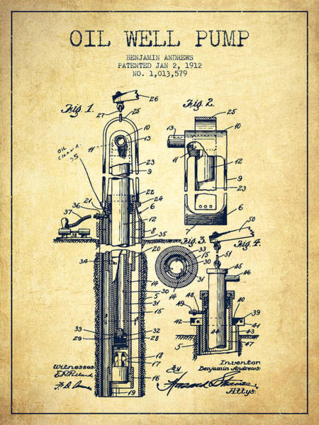Drilling Wall Art - Digital Art - Oil Well Pump Patent From 1912 - Vintage by Aged Pixel