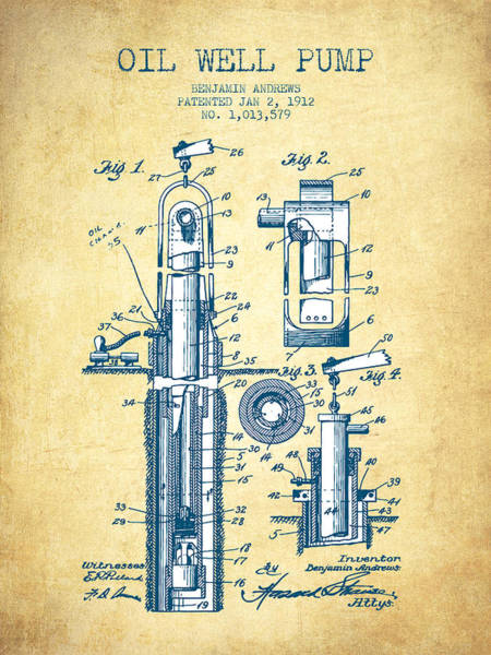 Drilling Wall Art - Drawing - Oil Well Pump Patent From 1912 - Vintage Paper by Aged Pixel