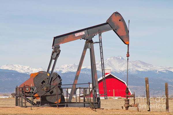 Photograph - Oil Well Pumpjack Red Barn And Longs Peak by James BO Insogna