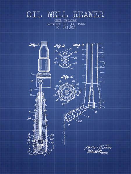 Pump Jack Wall Art - Digital Art - Oil Well Reamer Patent From 1924 - Blueprint by Aged Pixel