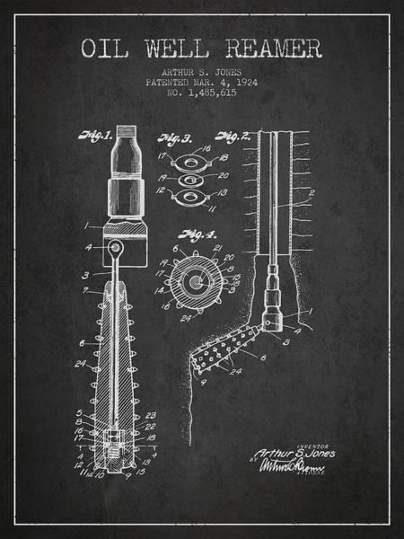 Pump Jack Wall Art - Digital Art - Oil Well Reamer Patent From 1924 - Dark by Aged Pixel