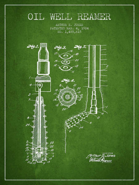Pump Jack Wall Art - Digital Art - Oil Well Reamer Patent From 1924 - Green by Aged Pixel