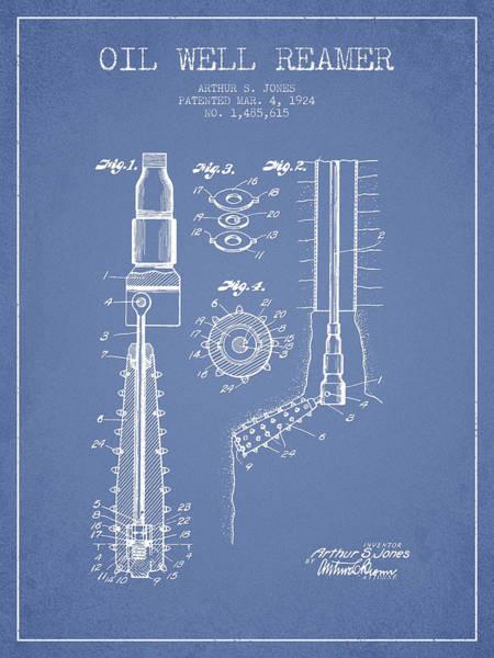 Pump Jack Wall Art - Digital Art - Oil Well Reamer Patent From 1924 - Light Blue by Aged Pixel