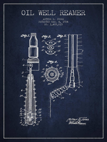 Pump Jack Wall Art - Digital Art - Oil Well Reamer Patent From 1924 - Navy Blue by Aged Pixel
