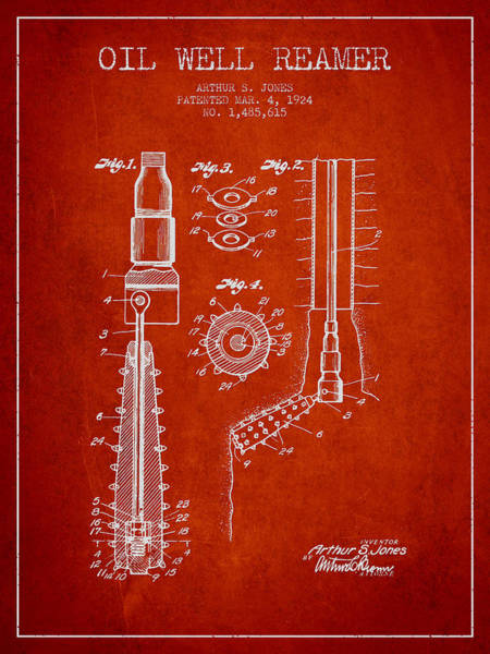 Pump Jack Wall Art - Digital Art - Oil Well Reamer Patent From 1924 - Red by Aged Pixel