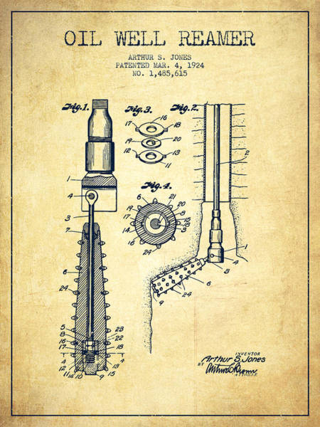 Pump Jack Wall Art - Digital Art - Oil Well Reamer Patent From 1924 - Vintage by Aged Pixel