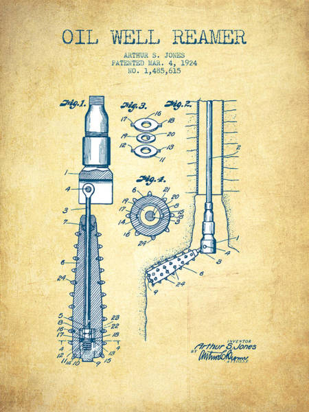 Pump Jack Wall Art - Digital Art - Oil Well Reamer Patent From 1924 - Vintage Paper by Aged Pixel