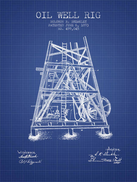 Pump Jack Wall Art - Digital Art - Oil Well Rig Patent From 1893 - Blueprint by Aged Pixel