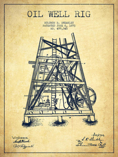 Drilling Rig Wall Art - Digital Art - Oil Well Rig Patent From 1893 - Vintage by Aged Pixel
