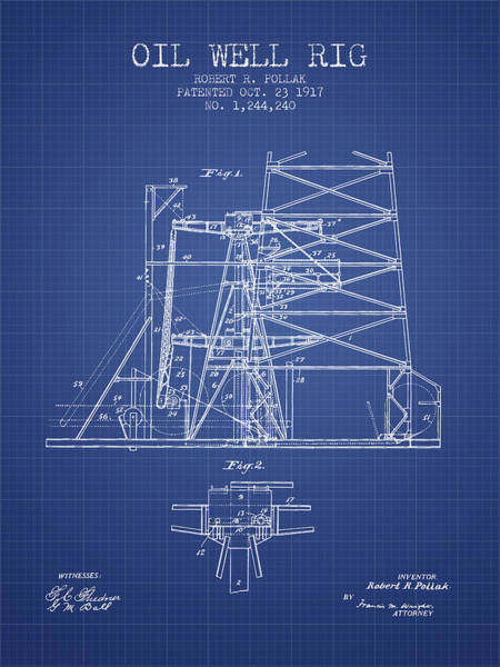 Pump Jack Wall Art - Digital Art - Oil Well Rig Patent From 1917 - Blueprint by Aged Pixel