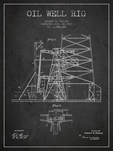 Drilling Rig Wall Art - Digital Art - Oil Well Rig Patent From 1917- Dark by Aged Pixel