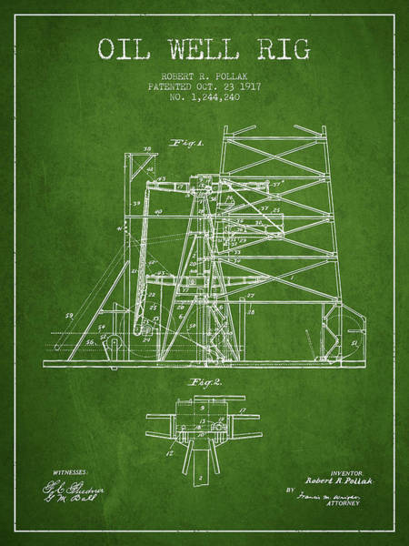 Pump Jack Wall Art - Digital Art - Oil Well Rig Patent From 1917- Green by Aged Pixel