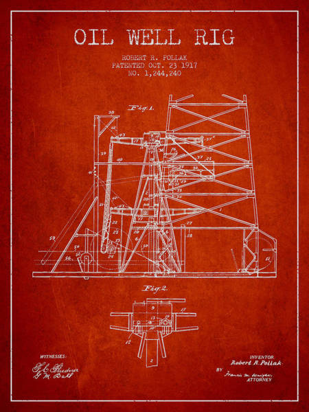 Pump Jack Wall Art - Digital Art - Oil Well Rig Patent From 1917- Red by Aged Pixel