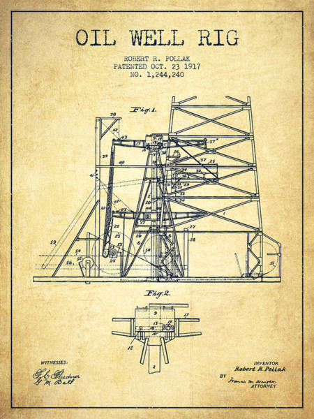 Pump Jack Wall Art - Digital Art - Oil Well Rig Patent From 1917- Vintage by Aged Pixel